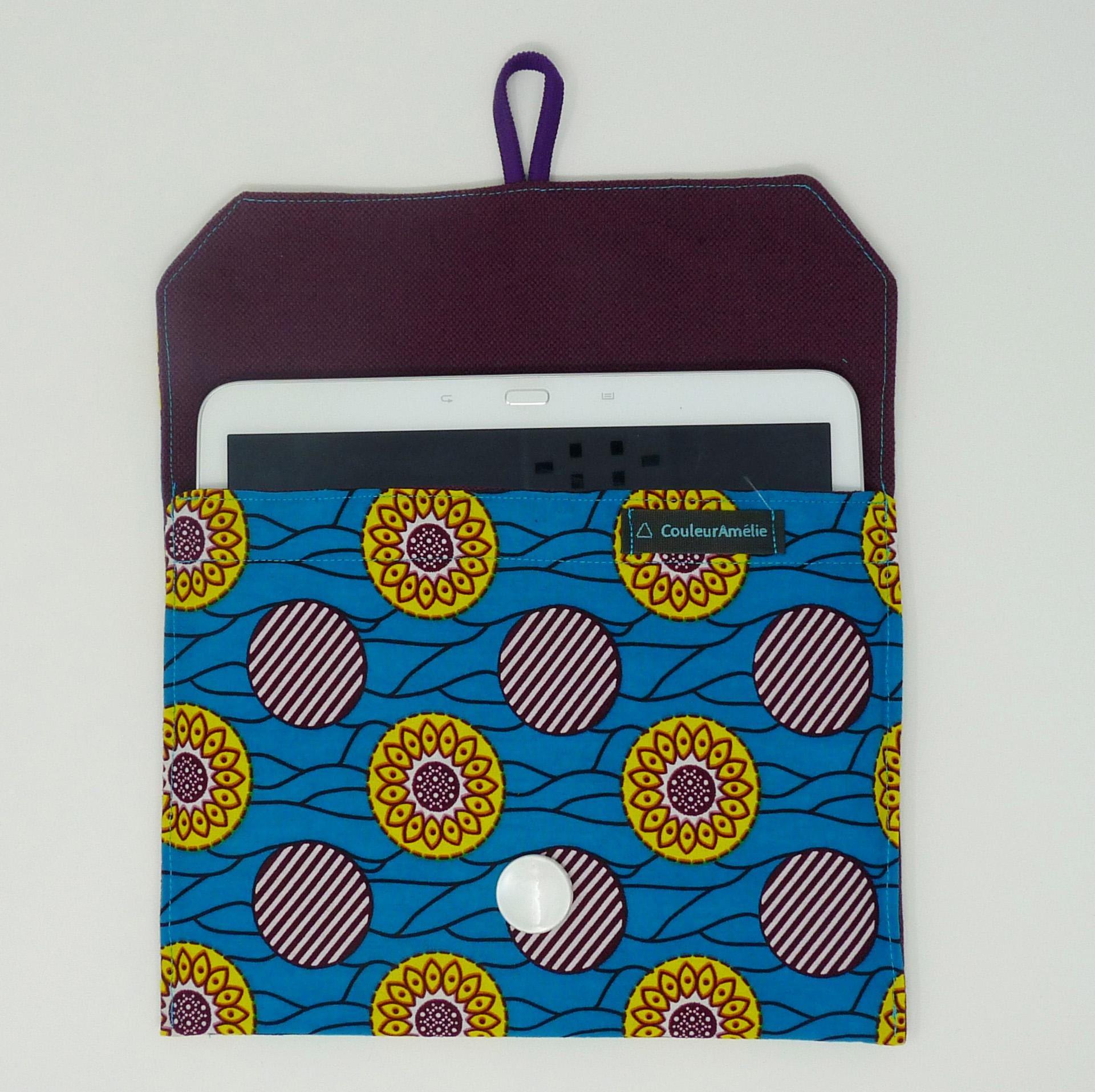 Pochette pour tablette turquoise et prune