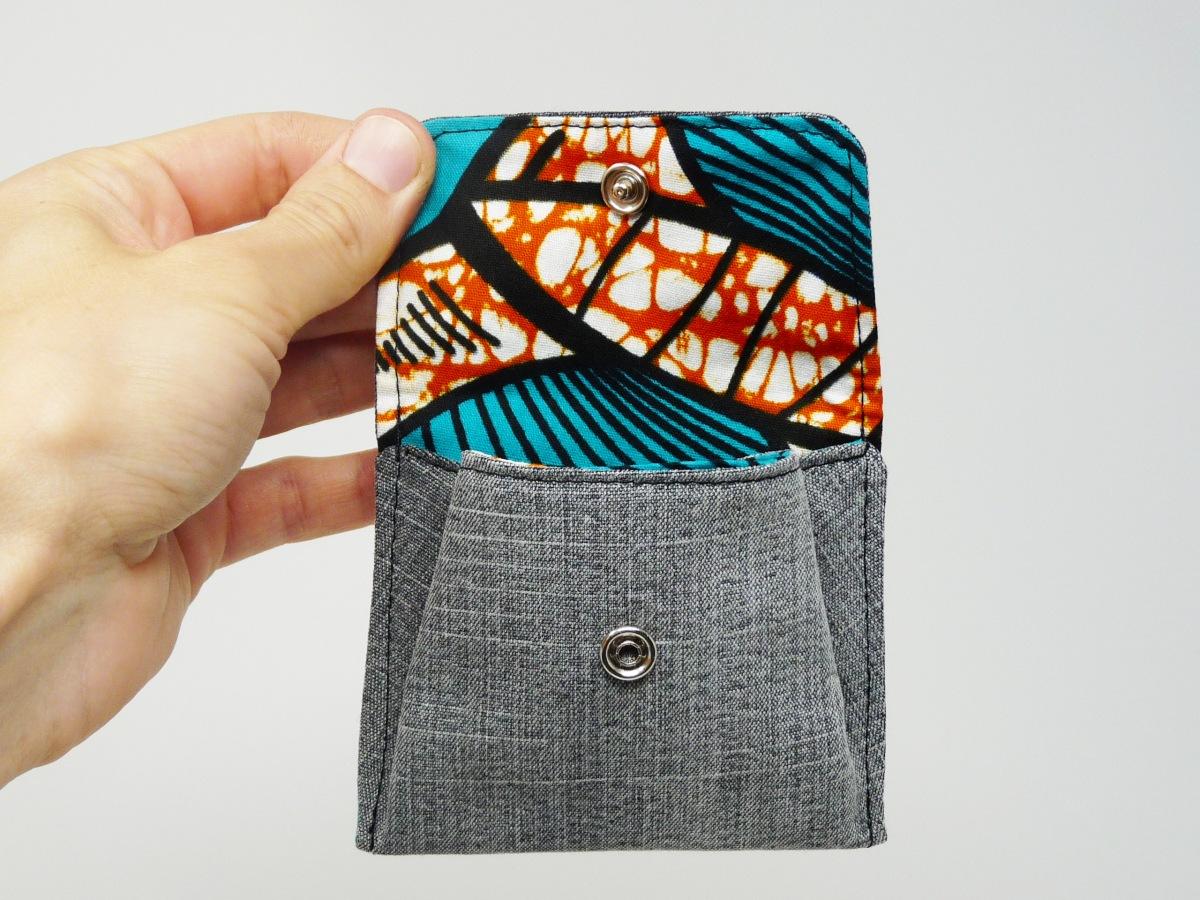 Porte-monnaie en jeans et african print