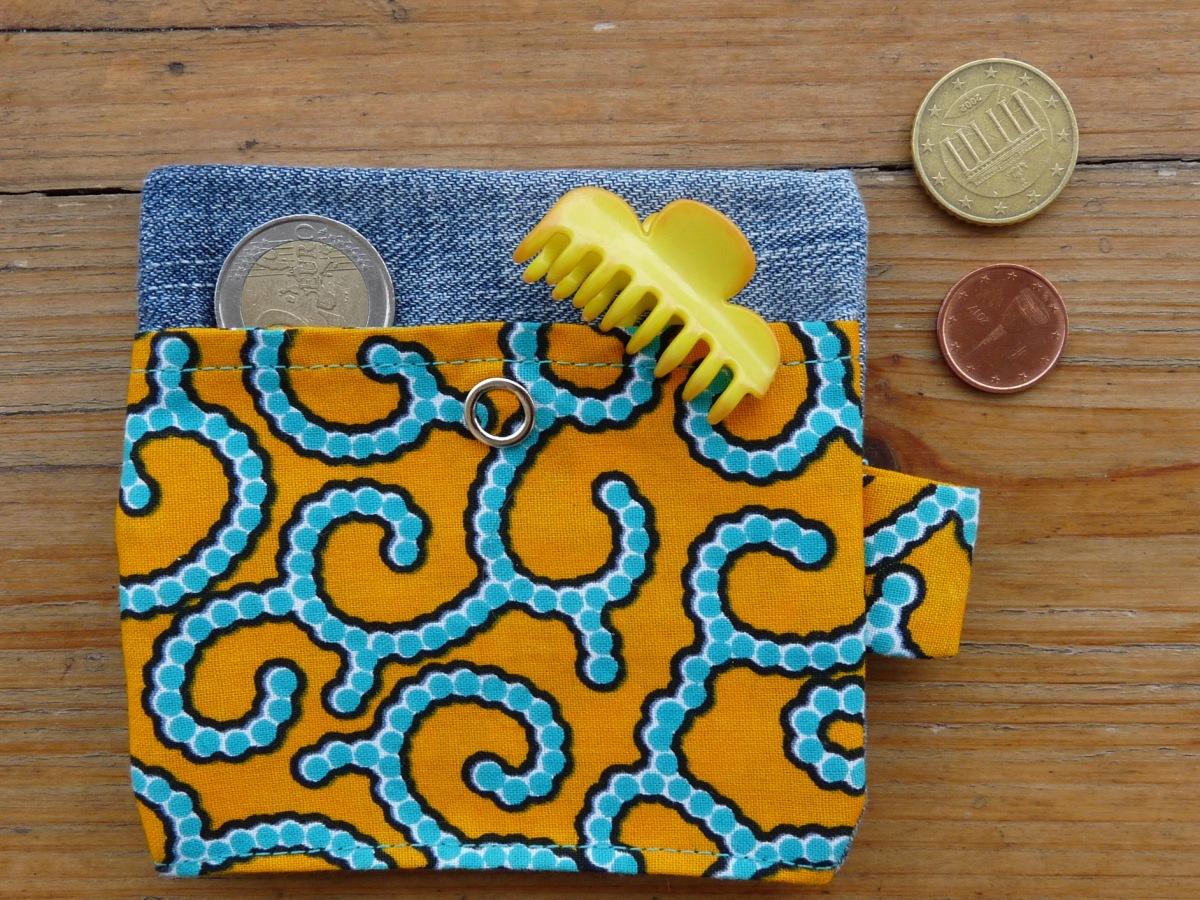 Porte-monnaie en jeans et wax orange