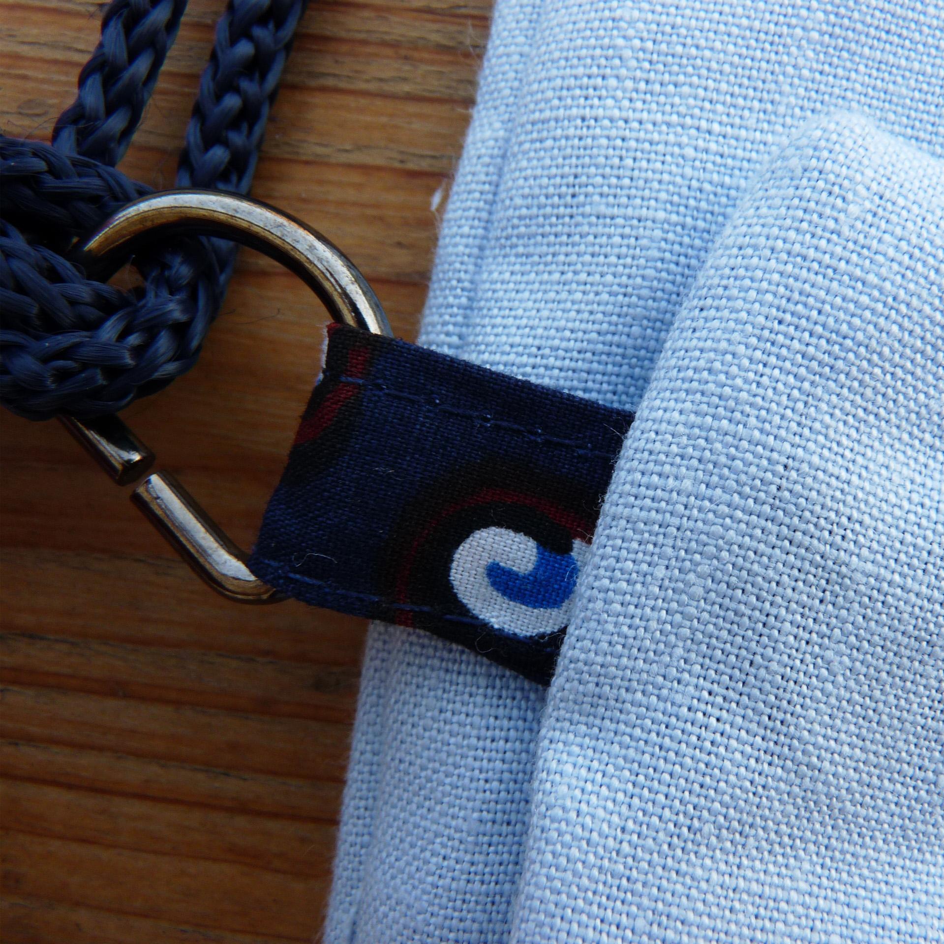 Sac à dos bleu ciel avec poche en wax bleu foncé